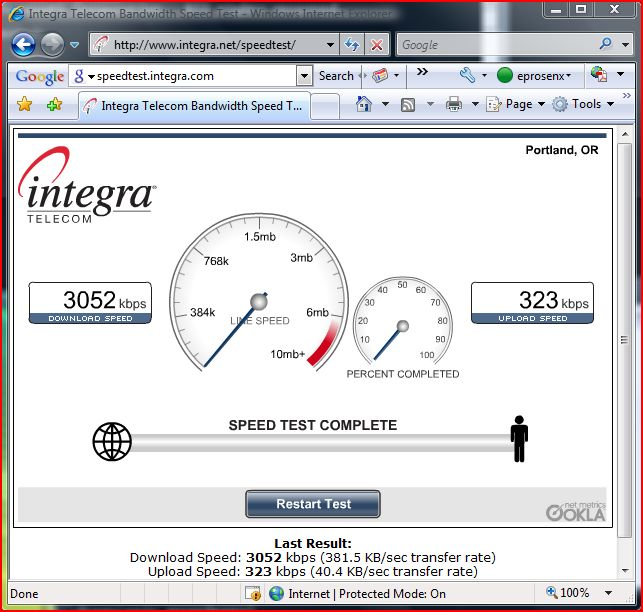 ClearWire Integra Speedtest